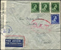 Lot 1338 [1 of 2]:1945 (Jun 20) cover to Quito, Ecuador with 16fr75c franking paying postage (1fr75c) & airmail (15fr) fees, likely a triple-rate (5fr per 5gm) cover, though possibly 15fr was the Pan-Am single-rate fee to Ecuador (but was not widely published as being so), censored in Brussels with bilingual censor tape, Type I 'OAT' cachet applied in London. Unusual origin/destination item.