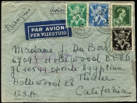 Lot 1339 [1 of 2]:1945 (Jul 14) double-rate airmail cover to California with 15fr75c franking, tied by Brussels datestamps, paying postage (1fr75c) and second-step airmail fee (14fr), Type I 'OAT' cachet (in purple-red) applied in London, dated censor cachets on reverse, passing the letter without opening; cover a little roughtly opened.