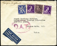 Lot 1340:1945 (Jul 14) double-rate airmail cover to Niagara Falls (NY) with 15fr75c franking, tied by Brussels datestamps, paying postage (1fr75c) and second-step airmail fee (14fr), Slightly smudged Type I 'OAT' cachet (in purple-red) applied in London.