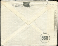Lot 1337 [2 of 2]:1945 (May 3) Le Duplex (paper suppliers) cover to USA with 11fr75c franking, tied by Brussels datestamp, paying postage (1fr75c) and airmail (10fr) fees, censored in Brussels, Type V 'OAT' cachet (oval 68x44mm) in red applied in London. Probable route described in vendor's typed annotations.
