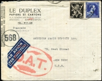Lot 1337 [1 of 2]:1945 (May 3) Le Duplex (paper suppliers) cover to USA with 11fr75c franking, tied by Brussels datestamp, paying postage (1fr75c) and airmail (10fr) fees, censored in Brussels, Type V 'OAT' cachet (oval 68x44mm) in red applied in London. Probable route described in vendor's typed annotations.