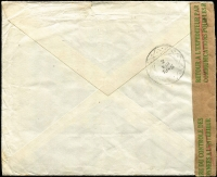 Lot 1341 [2 of 2]:1945 (Aug 1) airmail cover to NSW with 30fr franking tied by Mechelin datestamps, paying postage (1fr75c) and airmail (28fr) fees (overpaid 25c) for letter weighing up to 20g, censored in Brussels then by BOAC to London where Type VI 'OAT' handstamp applied, thence by North Atlantic route via Gander to New York, then train to San Francisco and boat to Australia. Attractive multi-franking.