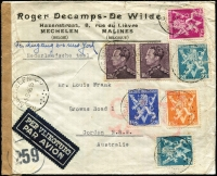 Lot 1341 [1 of 2]:1945 (Aug 1) airmail cover to NSW with 30fr franking tied by Mechelin datestamps, paying postage (1fr75c) and airmail (28fr) fees (overpaid 25c) for letter weighing up to 20g, censored in Brussels then by BOAC to London where Type VI 'OAT' handstamp applied, thence by North Atlantic route via Gander to New York, then train to San Francisco and boat to Australia. Attractive multi-franking.