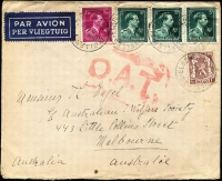 Lot 1343:1945 (Oct 15) cover to Australian Jewish Welfare Association in Melbourne with 17fr50c franking, tied by Brussels datestamps, paying postage (3fr50c) and airmail (14fr) for item weighing up to 20g, Type VI 'OAT' cachet applied in London, probable route thereafter fully described in vendor's type annotations. [The Australian Jewish Welfare Association received lots of mail from Europe post-war from Jewish people in Europe hoping to settle as far away from Europe as possible]
