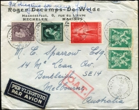 Lot 1342:1945 (Sep 22) cover to Melbourne, with 17fr50 franking, tied by Mechelin datestamps, paying postage (3fr50c) and airmail (14fr) for item weighing up to 10g, Type VII 'OAT' cachet in red (32x17mm small rectangular boxed frame) applied in London, likely route thereafter fully described in vendor's type annotations. [Private mail to Australia did not resume via India until 1946 as airport in SE Asia needing repairing after the war]