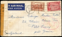 Lot 1361 [1 of 2]:1943 (Dec 16) airmail cover to Geneva with 20c & 10c tied by Victoria slogan cancel, censored in Vancouver, Type I 'OAT' handstamp applied in London, probable route and reason for lack of transit markings outlined in vendor's typed annotations.