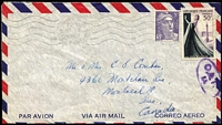 Lot 1404:1953 (Aug 10) airmail cover to Canada with 35fr franking tied by Nice machine cancel, Type XVII 'OAT/FS' cachet in violet applied at Mt Pleasant Sorting Office (UK), underpaid but not taxed probably due to a amnesty period being applied following rate changes after the jusqu'a and au dela mail rates ended in 1952.