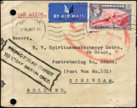 Lot 1426 [1 of 2]:1945 (Jun 21) airmail cover to Holland with KGVI 6d Pictorial paying airmail fee to UK, endorsed with very fine strike of boxed 'PREPAID FOR AIR TRANSIT/TO GREAT BRITAIN ONLY', censored in Gibraltar, Type V 'OAT' cachet in red applied in London. Probable route fully described in vendor's typed annotations.