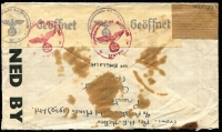 Lot 1429 [2 of 2]:1943 (June 29) cover from Ariston Gold Mines to Erstfeld, Switzerland with 1/6d airmail rate franking tied by Prestea datestamps, censored in Lagos (Nigeria) and by the Wehrmacht in Paris, Type II 'OAT' cachet in violet (rare thus) applied in London, cover with some age staining. A scarce example of a private letter passing from Allied to German postal system to reach a neutral country. The probable route fully described in vendor's typed annotations.