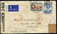 Lot 1429 [1 of 2]:1943 (June 29) cover from Ariston Gold Mines to Erstfeld, Switzerland with 1/6d airmail rate franking tied by Prestea datestamps, censored in Lagos (Nigeria) and by the Wehrmacht in Paris, Type II 'OAT' cachet in violet (rare thus) applied in London, cover with some age staining. A scarce example of a private letter passing from Allied to German postal system to reach a neutral country. The probable route fully described in vendor's typed annotations.