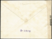 "Lot 1458 [2 of 2]:1945 (May 14) cover to Sweden with manuscript endorsement ""par avion au de la/de Londres"" and typed 'Commercial/Via London', 45d franking paying postage and airmail to London only, censored in London with circular 'PASSED BY/GREEK CENSOR' handstamp and Type V 'OAT' cachet applied in red, sent by train from London to Scotland then by air from Leuchars to Stockholm. Probable route fully described in vendor's typed annotations, plus considerable extra details on reverse in regards to rates and other information."