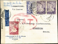 "Lot 1458 [1 of 2]:1945 (May 14) cover to Sweden with manuscript endorsement ""par avion au de la/de Londres"" and typed 'Commercial/Via London', 45d franking paying postage and airmail to London only, censored in London with circular 'PASSED BY/GREEK CENSOR' handstamp and Type V 'OAT' cachet applied in red, sent by train from London to Scotland then by air from Leuchars to Stockholm. Probable route fully described in vendor's typed annotations, plus considerable extra details on reverse in regards to rates and other information."