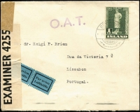 Lot 1473 [1 of 2]:1942 (Feb 14) cover to Portugal with 1kr solo franking paying combined postage and airmail fee, stamp tied by Reykjavik datestamp, censored in UK with Type XIII 'OAT' cachet in violet (37x10mm, unframed with diamond shaped stops after letters) applied in Prestwick, UK. Probable route fully described in vendor's typed annotations. [This cover would have contained an 'undercover' letter for forwarding to Denmark. The addressee Dr Helgi P Briem was the Icelandic Trade Commissioner to Portugal. He accepted such letters from Iceland to forward to Denmark, direct mail having been suspended after Germany's 1940 invasion of Denmark, meaning that mail had to pass through a neutral country such as Portugal.]