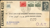 Lot 1474:1942 (Oct 20) cover to New York with 4k25a franking paying postage (45a), additional postage (20a) & airmail fee (3k60a) for item weighing up to 20g, stamps tied by Reykjavik datestamps, censored in UK with Type XIII 'OAT' cachet in violet applied in Prestwick. Likely route options fully described in vendor's typed annotations.