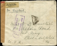Lot 1491 [2 of 2]:1941 (Mar 6) 'AV2' cover to Philadelphia with KGVI 2r, 8a & 3a6p (2r11a6p per ½oz airmail) tied by Lucknow datestamps, censored in Delhi, with triangular censor handstamp, sealed with brown tape, Type 5 circular 'A.V.2.' handstamp applied in Hong Kong with Victoria transit datestamp, fully written up with details of transit route. [AV2 markings (unlike OAT, which were unauthorised by the UPU) were officially used in 'open' bags to alert the postal authorities at exchange points that an AV2 form was enclosed. They were only used for items sent by airmail.]