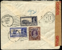 Lot 1491 [1 of 2]:1941 (Mar 6) 'AV2' cover to Philadelphia with KGVI 2r, 8a & 3a6p (2r11a6p per ½oz airmail) tied by Lucknow datestamps, censored in Delhi, with triangular censor handstamp, sealed with brown tape, Type 5 circular 'A.V.2.' handstamp applied in Hong Kong with Victoria transit datestamp, fully written up with details of transit route. [AV2 markings (unlike OAT, which were unauthorised by the UPU) were officially used in 'open' bags to alert the postal authorities at exchange points that an AV2 form was enclosed. They were only used for items sent by airmail.]