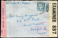 "Lot 1503:1940 (Oct 2) cover to California endorsed ""Air Mail Via Clipper"" with 1/- & 3d tied by Longford datestamps paying ½oz airmail rate, censored in Dublin and again in London after the Type I 'OAT' oval handstamp (oval 50x32mm, square stops after letters) had been applied, the likely airmail route thereafter (via Portuguese Guinea) is fully written up with a map of the presumed (winter) route shown."