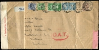 Lot 1505:1945 (Apr 4) 5/- quadruple rate, triple-censored, oversized (370x140mm) airmail cover to Melbourne, censored in Dublin, London (where Type I 'OAT' handstamp also applied) and Melbourne, edge tear & couple of vertical folds (clear of stamps); suggested routes as Lot 1504.