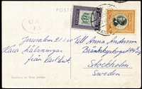 Lot 1509:1960 (Jan 22) PPC to Sweden with 30f franking tied by Jerusalem datestamp, Type XVIIA 'OAT/FS' cachet in violet (31x18mm single-lined oval, diamond-shaped stops after all letter except 'S') applied at London Foreign Sorting Office. Heifetz states only one Type XVIIA cover recorded.
