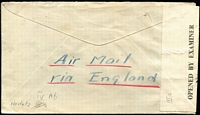 Lot 1510 [3 of 3]:1945 (Mar 21) cover to USA with 1s30c airmail rate franking tied by Nairobi datestamp, where censored, Type IV 'OAT' handstamp in red applied in London. Probable routing fully described in vendor's typed annotations. [The Commonwealth all-up rate of 1s30c was probably available to Americans on business for UK government as the normal all-up rate to USA was considerably more]