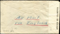 Lot 1510 [2 of 3]:1945 (Mar 21) cover to USA with 1s30c airmail rate franking tied by Nairobi datestamp, where censored, Type IV 'OAT' handstamp in red applied in London. Probable routing fully described in vendor's typed annotations. [The Commonwealth all-up rate of 1s30c was probably available to Americans on business for UK government as the normal all-up rate to USA was considerably more]