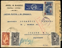 Lot 1513:1941 (Nov 18) Akel & Bagdo (Tripoli) 'AV2' cover to GB with 57½p franking paying combined airmail & postage and tied by Tripoli datestamps, sent by train to Beirut where 'CP'-in circle censor handstamp applied, thence by BOAC airmail to Cairo where mss 'AV2' marking applied, the likely airmail route thereafter (via Africa) is fully written up with a map of the presumed route included.