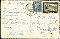 Lot 1515:1957 (Jan 20) PPC to Malta with 3fr50c franking tied by Luxembourg-Ville datestamps, Type XVII 'OAT/FS' cachet in violet applied in London.