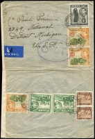 Lot 1519:1943 (Sep 3) airmail cover to Detroit with 2/4d airmail rate franking tied by Prince of Wales Rd/Sliema datestamps, censored in Malta, Type II 'OAT' cachet in violet (rare) applied in London; cover opened-out for display and slightly reduced at left. Likely routing of this cover fully descibed in vendor's type annotations.