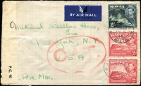 Lot 1520:1945 (Apr 5) cover to New York with 2/4d Airmail rate franking tied by Air Mail/Malta datestamp, censored in Malta routed via Gibraltar to UK, with Type IIIA 'OAT' cachet applied in red in London, from London it likely traversed North Atlantic by one of the American services via Iceland and Gander.