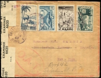 Lot 1523:1943 (Aug 2) cover to New York with 18fr50c franking paying postage (4fr), airmail Casablanca-Lisbon (2fr50c) and airmail to New York (10fr), stamps tied by Casablanca datestamps, Type I 'OAT' handstamp, censor tape & handstamp applied in London. Vendor suggests the mail was routed via London (rather than intended direct route from Lisbon to USA) so that it could be censored for valuable information following the collapse of Vichy regimes in French Africa in late 1942.