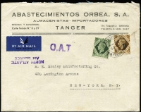 Lot 1525:1946 (Aug 30) printed airmail cover to New York endorsed 'NORTH ATLANTIC/AIR SERVICE' with 1/9d franking, tied by Tangier datestamp, paying airmail to UK (6d) and airmail to USA (1/3d), Type XV 'OAT' cachet in violet (37x9mm, unframed, no stop after 'T') applied in Tangier. Vendor's typed annotations describe probable route taken.