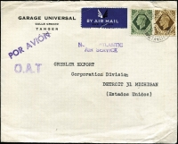 Lot 1526:1946 (Aug 23) Garage Universal cover to Detroit, endorsed 'NORTH ATLANTIC/AIR SERVICE' with GB 1/9d franking, tied by Tangier datestamp, paying airmail to UK (6d) and airmail to USA (1/3d), Type XV 'OAT' cachet in violet applied in Tangier. Vendor's typed annotations describe probable route taken. [Between 1937 and 1949 Tangier overprinted stamps were often unavailable, hence the use of unoverprinted GB issues.]