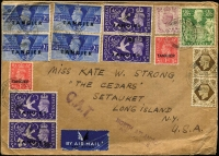 Lot 1524 [1 of 2]:1946 (Jul 30) quadruple rate airmail cover to Long Island, New York endorsed 'NORTH ATLANTIC/AIR SERVICE' with 7/- franking, tied by Tangier datestamps, paying postage (2/-) and airmail fee (5/-) for item weighing up to 2oz, Type XV 'OAT' cachet in violet applied in Tangier. Vendor's typed annotations describe probable route taken. Rare multiple rate cover.
