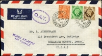 Lot 1527:1946 (Nov 9) airmail cover to Pennsylvania endorsed 'NORTH ATLANTIC/AIR SERVICE' with 1/9d franking, tied by Tangier datestamps, paying airmail to UK (6d) and airmail to USA (1/3d), Type XVI 'OAT' cachet in violet (32x20½mm, in double-line oval) applied in Tangier. Vendor's typed annotations describe probable route taken.