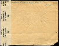 Lot 1409 [2 of 2]:1943 (Aug 28) Franchise Militaire airmail cover USA with 17fr franking paying airmail rate to USA (postage free for military), censored on arrival in London where Type I 'OAT' cachet applied. Cover addressed to F Claudien a senior pilot for the French Naval Fleet Mission to the USA, apparently from his wife.
