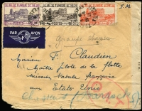 Lot 1409 [1 of 2]:1943 (Aug 28) Franchise Militaire airmail cover USA with 17fr franking paying airmail rate to USA (postage free for military), censored on arrival in London where Type I 'OAT' cachet applied. Cover addressed to F Claudien a senior pilot for the French Naval Fleet Mission to the USA, apparently from his wife.