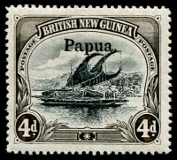 Lot 1095:1906 Large 'Papua' Wmk Vertical 4d black & sepia SG #25, well centred, fine mint, Cat £225.