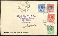 Lot 1227:1937 Coronation set SG #154-7 tied by Samarai '14MY37' FD datestamps to Orlo-Smith inscribed FDC, with the dealer's rubber stamped address. Fine example of a rare FDC.