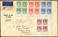 Lot 1228 [1 of 2]:1937 Coronation set SG #154-7 in imprint blocks on registered FDC, Port Moresby '14MY37' FD datestamps, addressed to South Africa, some defects including closed tear at top (not affecting stamps). Probably unique.
