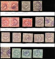 Lot 1022 [3 of 4]:1892-1900 Series selection of values to 1/- with single-ring numeral cancels including '36' (Scarness) on 1/-, '94' (Roma) on 1d, '120' (Maryborough) on 1/-, '520' (South Brisbane) on 1d pair, '225' (Townsville) on 1d pair; other cancels include straightline 'BEENLEIGH' of 3d strip of 3, plus various cork and manuscript cancels. (47 items)