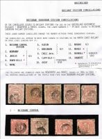 Lot 1021 [3 of 6]:1892-1900 Series Selection of values to 1/- all with triple-ring Brisbane Suburban Station cancels including '14' (Sandgate) on 1d block of 6, strip of 3 and on 3d block of 6, '1' (Brisbane Central) on 1d block of 4 & 3d strip of 3, also '7' (Woolowin) on 1d x3, '9' (Clayfield) on 3d, '11' (Nundah) on 3d, '12' (Nudgee) on 1d & 6d, etc; condition of stamp variable. (53 items)