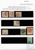 Lot 1021 [5 of 6]:1892-1900 Series Selection of values to 1/- all with triple-ring Brisbane Suburban Station cancels including '14' (Sandgate) on 1d block of 6, strip of 3 and on 3d block of 6, '1' (Brisbane Central) on 1d block of 4 & 3d strip of 3, also '7' (Woolowin) on 1d x3, '9' (Clayfield) on 3d, '11' (Nundah) on 3d, '12' (Nudgee) on 1d & 6d, etc; condition of stamp variable. (53 items)