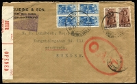 Lot 1835:1943 (Mar 18) cover to Sweden with 1/3d airmail rate franking, tied by Johannesburg datestamps where bilingual censor tape and handstamp also applied, Type I 'OAT' handstamp applied in London, route fully described in the accompanying notes, which mention the use of clandestine night flights from Scotland to Stockholm as neighbouring Norway was under German occupation.