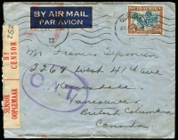 Lot 1836:1944 (Sep 12) double-rate airmail cover to Vancouver with 2/6d Oxen solo tied by Durban machine cancel, censored in Durban, Type III 'OAT' handstamp in violet (rare thus) applied in London; two possible route alternatives to London provided by vendor, from London it went via North Atlantic route to Newfoundland and across Canada to Vancouver.