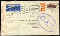 Lot 1837:1944 (Sep 22) cover to Sweden with 1/6d airmail rate franking tied by Johannesburg datestamps where censored, Type III 'OAT' handstamp in violet applied in London, from London it went by rail to Scotland, then taking a covert night flight to Sweden to avoid German aircraft operating out of occupied Norway.