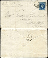 "Lot 1059 [2 of 5]:1874-84 6d solo (various perfs) covers to England x4 or Ireland including 1874 from Port Adelaide with fine Stone House arrival backstamp, 1880 from Two Wells to London, others from Adelaide including 1878 with New-Fletton (Cambs) arrival backstamp, 1884 per ""SS Elder""; condition a tad variable. (5)"