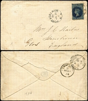 "Lot 1059 [4 of 5]:1874-84 6d solo (various perfs) covers to England x4 or Ireland including 1874 from Port Adelaide with fine Stone House arrival backstamp, 1880 from Two Wells to London, others from Adelaide including 1878 with New-Fletton (Cambs) arrival backstamp, 1884 per ""SS Elder""; condition a tad variable. (5)"