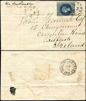 "Lot 1059 [5 of 5]:1874-84 6d solo (various perfs) covers to England x4 or Ireland including 1874 from Port Adelaide with fine Stone House arrival backstamp, 1880 from Two Wells to London, others from Adelaide including 1878 with New-Fletton (Cambs) arrival backstamp, 1884 per ""SS Elder""; condition a tad variable. (5)"
