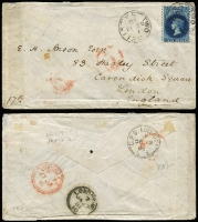 "Lot 1059 [1 of 5]:1874-84 6d solo (various perfs) covers to England x4 or Ireland including 1874 from Port Adelaide with fine Stone House arrival backstamp, 1880 from Two Wells to London, others from Adelaide including 1878 with New-Fletton (Cambs) arrival backstamp, 1884 per ""SS Elder""; condition a tad variable. (5)"