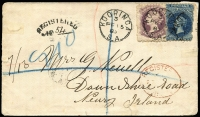Lot 712 [1 of 2]:1885 (Feb 15) registered cover to Ireland with P10x11½-12½ 4d & 6d tied by Kooringa Type F1-3 datestamps, arced 'REGISTERED/No' 54 handstamp at left, Adelaide transit & Newry arrival backstamps, small edge repair at left.